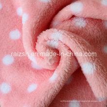 Weiße Punkte auf rotem Double-Knit Microsoft Coral Fleece Stoff