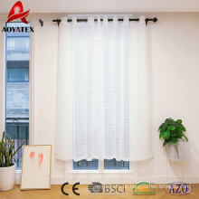 Weiße Prise Plissee bestickt Voile Sheer Fenster Vorhang