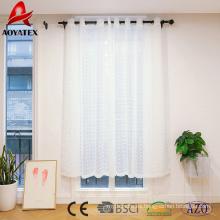 Blanco pellizco plisado bordado Voile Sheer ventana cortina