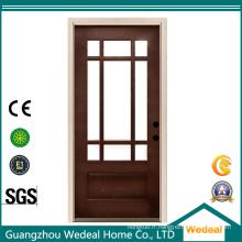 Porte intérieure pleine en bois pleine de noyau avec le verre pour l'usage résidentiel