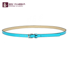 HEC Custom Printed Blue Leather Belts For Women Lady