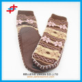 Adult Jacquard Hand Knit Non-skid Slipper Socks With Rubber Sole