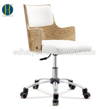 2017 Top Sell modern top quality white leather wooden computer chair