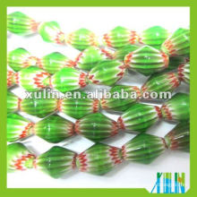 Handmade Glass Green Millefiori Chevron Bead in bulk