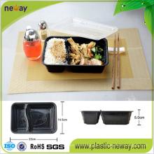 Boîte à lunch jetable en plastique micro-ondes 2 compartiments