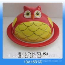 2016 owl design ceramic bread plate with lid,butter dish