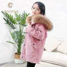 Direct factory price real raccoon fur lined long parka outfit for kids