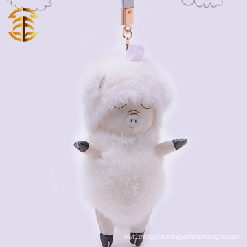 Fashion Life-like Soft Lovely Beautiful Custom Mink Fur Key Chain