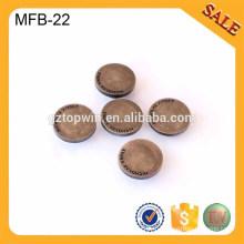 MFB22 logo personnalisé bouton en laiton antique bouton deboss métal jeans bouton vêtement bouton jeans