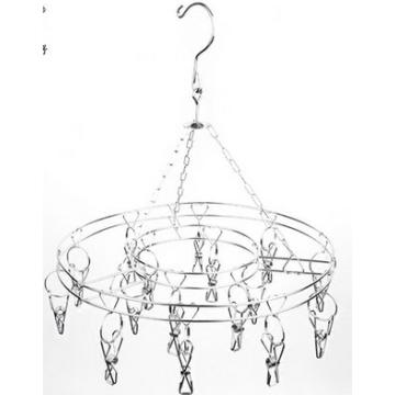 Round Stainless steel metal clothes hanger socks hanger folding drying rack hanger