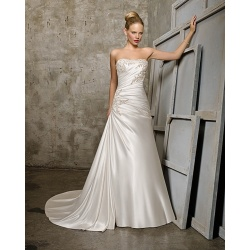 A-line Sweetheart Cathedral Kereta Satin Beading Ruffled Wedding Dress