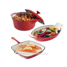 Чугунные гарнитуры Набор из 3-х блюд из кастрюли, гратина и грида для приготовления посуды