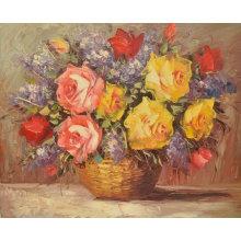Pared que cuelga la pintura moderna de la flor