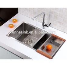 Calibre pequeno do aço inoxidável do SUS 304 do raio R25 18/8 Dissipador da cozinha da bacia dobro