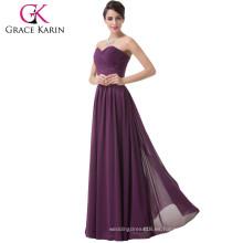 Grace Karin Señoras Sexy Strapless Novia gasa morado barato madre alta de la novia se viste CL6273