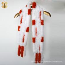 Оранжевый и белый шарф кролика с меховой отделкой Трикотажные шарфы из кролика Рекса