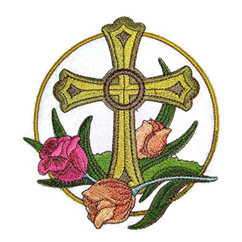 Cross And Tulip Embroidery Patch