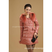 Lamb Leather Clothing with Faux Fur, Winter Overcoat, (CW8336)
