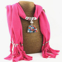 Fashion Women's Elegant Charm Tassels Rhinestone Decorated Jewelry Faux Gem scarf