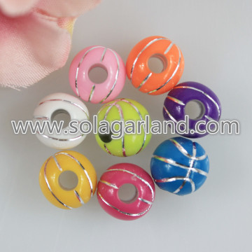 12MM Basketball Pattern Acrylic Round Chunky Beads