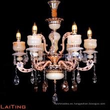 Lujo único color oro tradicional 6 forma de corona ligera Imperio K9 cristal grandes lámparas de vela cristal LT-88647