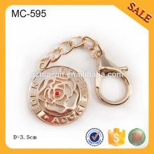 MC595 Fuente de fábrica Color de oro Metal Etiqueta de cadena grande para la insignia de la cadena del metal de Handnag Con el gancho
