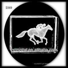 K9 3D subsuperfície gravado cavalo dentro retângulo de cristal