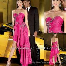Розовый Милая Складки Асимметричный Резки Кристалл Драпированные Многоуровневое Пром Платье