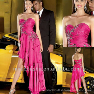 Pink Sweetheart Pleat Asymmetrical Cutting Crystal Drape Tiered Prom Dress