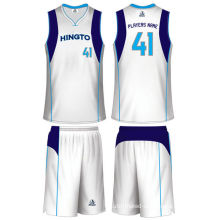 White / Navy Blue Quick Dry Unisex Sublimated Basketball Uniforms Heat Transfer Printing