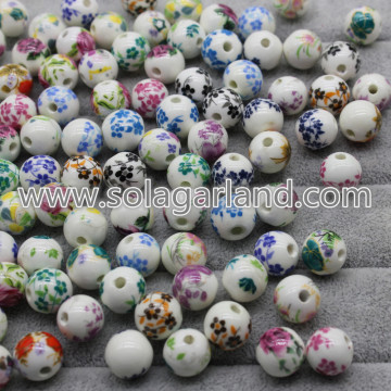 12MM Flower Round Ceramic Porcelain Loose Spacer Beads