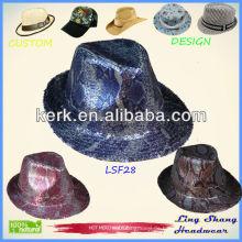 2013 Blue Sequins Promotion Stoff Fedora Hut Caps & Hüte, LSF28