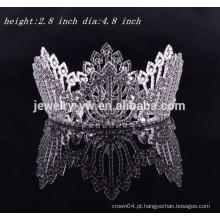 Acessórios de cabelo de fantasia ronda completa rhinestone nupcial tiara casamento cabelo coroa