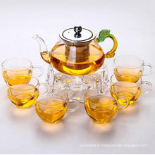 floraison thé thé/théière en verre et coupe