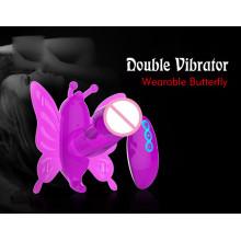 Duplo vibrando borboleta dildo brinquedo do sexo (ij-dv0049)