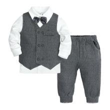 Spring Autumn Children′s Clothing Gentleman Boy Three-Piece Long Sleeve Children′s Long-Sleeved Plaid Suit