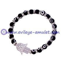 Black Glass Evil Eye Beads Hamsa Bracelet