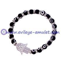 Black Glass Evil Eye Beads Hamsa Bracelet