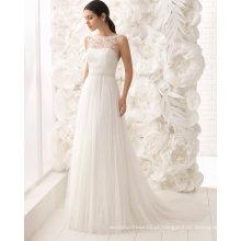 Sexy aberto de volta barco Neck Beading Lace e Tulle vestido de noiva vestido de noiva