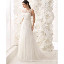 Сексуальная открытой спиной лодка шеи бисером кружева и тюль свадебное платье свадебное платье