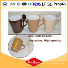 Personalizar el diseño diferente 325ml Glaze taza de café de cerámica con cuchara de cerámica taza