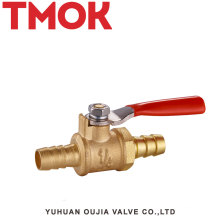 Red handle natural color brass gas valve Dn8