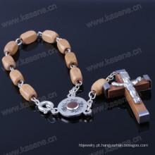 Bracelete de madeira dos grânulos de madeira da alta qualidade com o botão aberto do fechamento