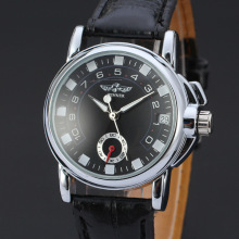 winner mininalist men watch with sub-dial design leather band