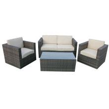 Conjunto de mobiliário de sofá de vime de jardim de inverno