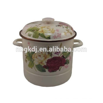 enamel steamer pot with full decal