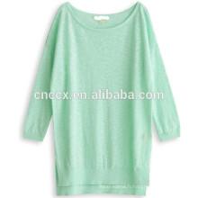 15ASW1056 col rond lâche nouveau design lin coton pull femmes