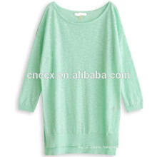 15ASW1056 Round neck loose new design linen cotton sweater women