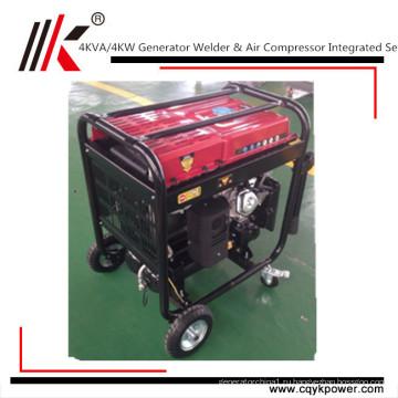 Китай бензин генератор Сварочный аппарат Двигатель 100% медь сварочный аппарат портативный генератор 4квт воздушный компрессор двигателя