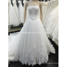 2015 New Arrival Tulle Lace Appliqued White Elegant Sweet Heart Pageant Strapless Bodice Alibaba Vestidos de casamento express VW242-1